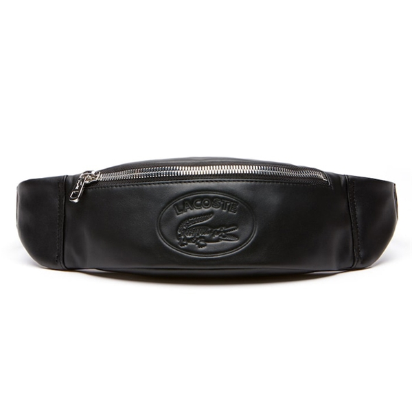 6a7ad9c109 Lacoste Men's L.12.12 Casual Embossed Lettering Leather Zip Fanny ...