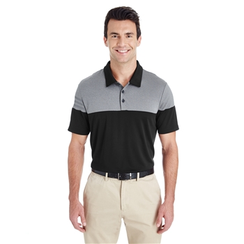 adidas Men's Golf 3-Stripes Heather Block Polo