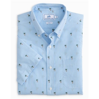 Southern Tide Men's SS Palm Tree Clip Sportshirt