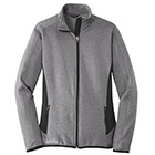 Eddie Bauer Women's Full-Zip Heather Stretch Fleece Jacket - Grey Heather