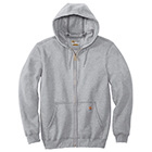 Carhartt Men's Midweight Hooded Full Zip Sweatshirt - Heather Grey