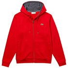 Lacoste Men's SPORT Full-Zip Fleece Hoodie - Red/Grey Chine